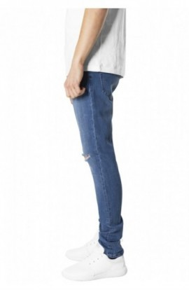 Slim Fit Knee Cut Denim Pants albastru-washed 34