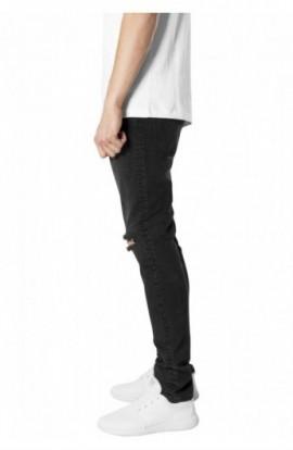 Slim Fit Knee Cut Denim Pants negru-washed 36