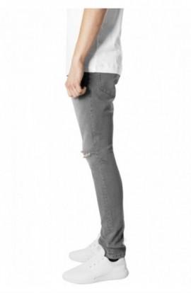 Slim Fit Knee Cut Denim Pants gri 36