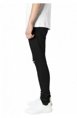 Slim Fit Knee Cut Denim Pants negru 32