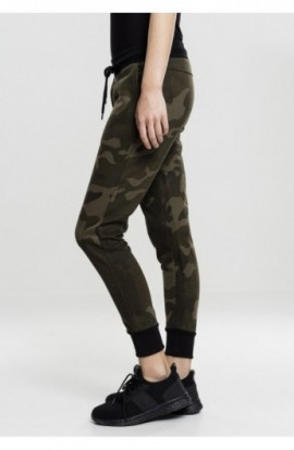 Ladies Camo Terry Pants oliv-camuflaj-negru S