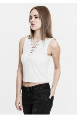 Ladies Lace Up Cropped Top alb S