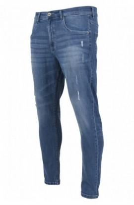 Skinny Ripped Stretch Denim Pants albastru-washed 32