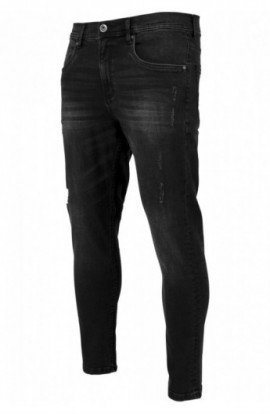 Skinny Ripped Stretch Denim Pants negru-washed 32