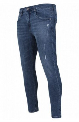 Skinny Ripped Stretch Denim Pants albastru-denim 30