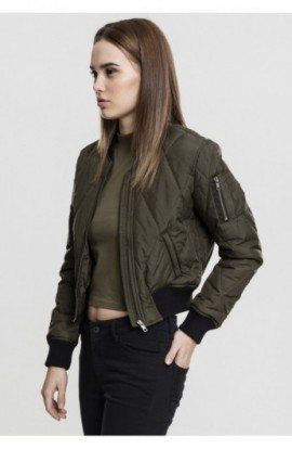 Ladies Diamond Quilt Short Bomber oliv inchis-negru L