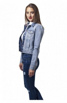 Ladies Denim Jacket prespalat-albastru M