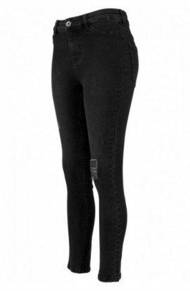 Ladies High Waist Skinny Denim Pants negru-washed 27