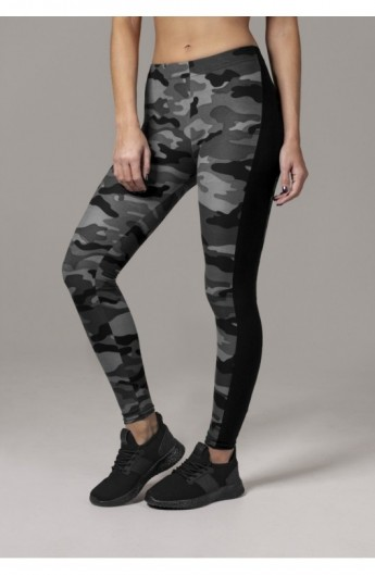 Ladies Camo Stripe Leggings camuflaj-negru XL