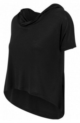 Ladies Short Viscose Hoody negru S