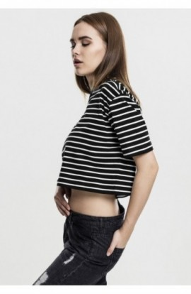 Ladies Short Striped Oversized Tee negru-alb S