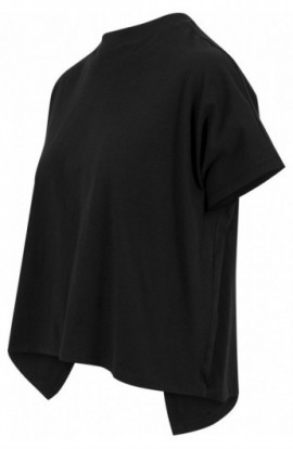 Ladies Overlap Turtleneck Tee negru S