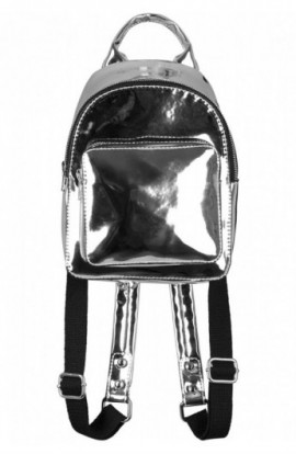 Mini Metallic Backpack argintiu