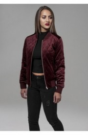Ladies Diamond Quilt Velvet Jacket rosu burgundy L
