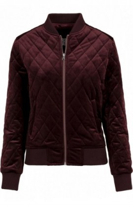 Ladies Diamond Quilt Velvet Jacket rosu burgundy XL