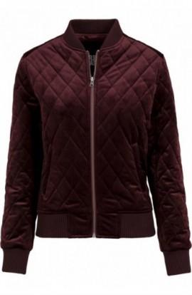 Ladies Diamond Quilt Velvet Jacket rosu burgundy XS