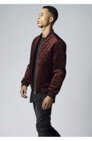 Diamond Quilt Velvet Jacket rosu burgundy 2XL