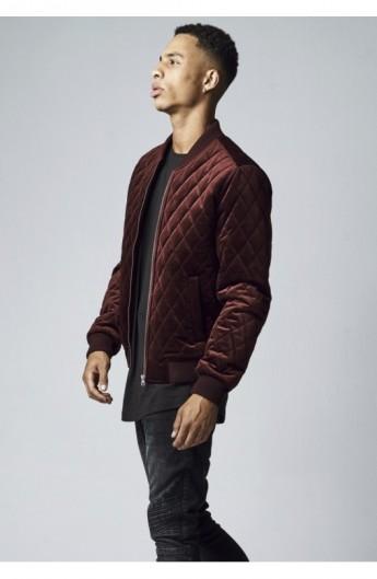 Diamond Quilt Velvet Jacket rosu burgundy XL
