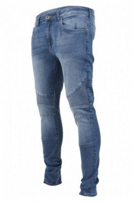 Slim Fit Biker Jeans albastru-washed 32