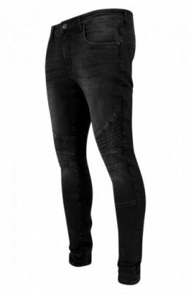 Slim Fit Biker Jeans negru-washed 34