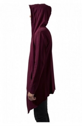 Long Hooded Open Edge Cardigan rosu burgundy 2XL