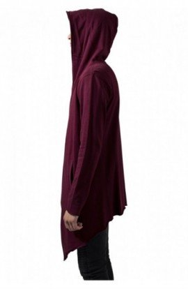 Long Hooded Open Edge Cardigan rosu burgundy XL