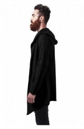 Long Hooded Open Edge Cardigan negru XL - 5XL