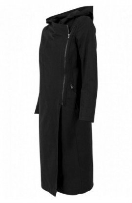Ladies Peached Long Asymmetric Coat negru L