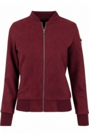 Ladies Imitation Suede Bomber Jacket rosu burgundy S