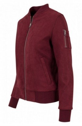 Ladies Imitation Suede Bomber Jacket rosu burgundy S