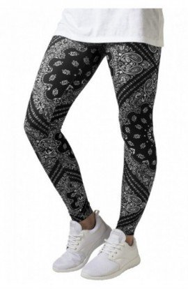Ladies Bandana Leggings negru-alb S
