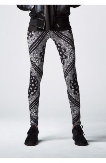 Ladies Bandana Leggings negru-alb XL
