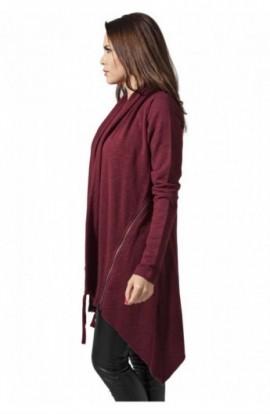 Cardigan dama asimetric urban rosu burgundy M