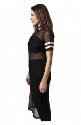 Tricouri plasa lungi femei negru-alb XS