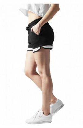 Pantaloni scurti femei pentru sala negru-alb XL