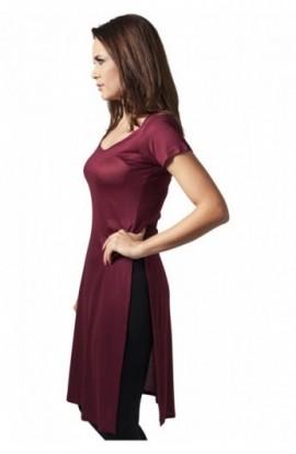Tricouri lungi cu crapaturi laterale rosu burgundy S