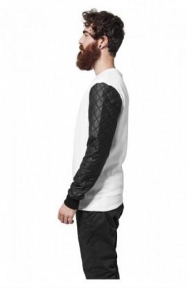 Bluze cu maneci piele ecologica alb-negru 2XL