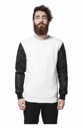 Bluze cu maneci piele ecologica alb-negru M