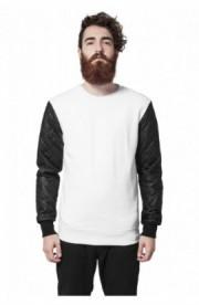 Bluze cu maneci piele ecologica alb-negru XL