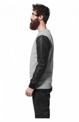 Bluze cu maneci piele ecologica gri-negru M