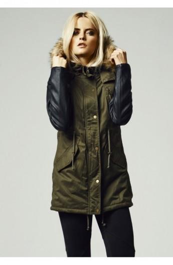 Geci de iarna lungi cu maneci imitatie piele oliv-negru XL