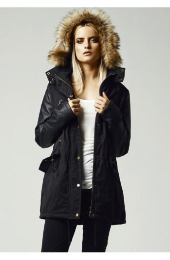 Geci de iarna lungi cu maneci imitatie piele negru-negru XL