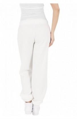 Pantaloni jogging cu aspect matlasat alb murdar M