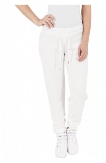 Pantaloni jogging cu aspect matlasat alb murdar S