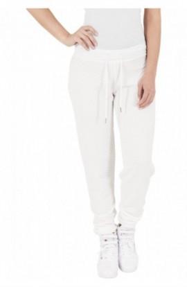Pantaloni jogging cu aspect matlasat alb murdar XS