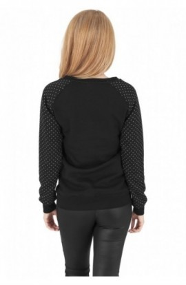 Bluza urban cu model pe maneci negru-alb M