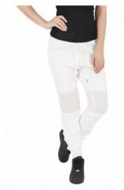 Pantaloni jogging scuba cu plasa la genunchi alb murdar S