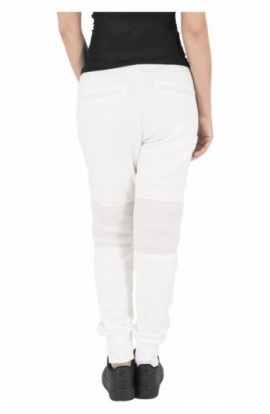 Pantaloni jogging scuba cu plasa la genunchi alb murdar XS