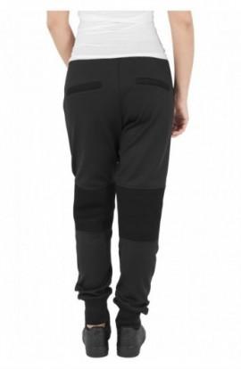 Pantaloni jogging scuba cu plasa la genunchi negru M