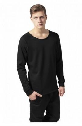 Bluza cu guler rotund long negru XL